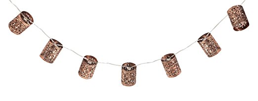 10. Evergreen Copper Lantern Solar Powered String Lights