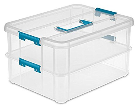 4. Sterilite 1427CLR Stack & Carry - 2 Layer Box, Clear Lid & Blue Handle
