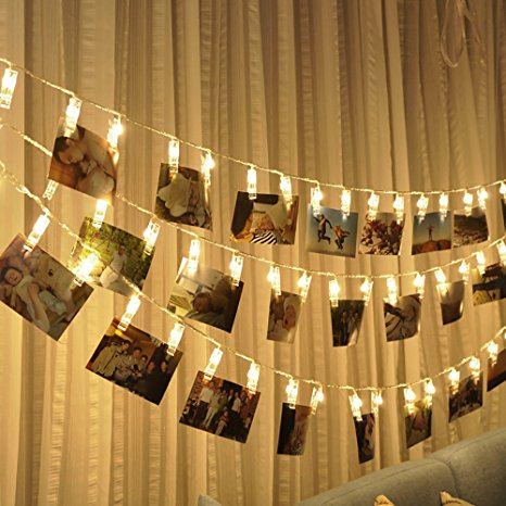 3. Photo clips string lights Battery Powered