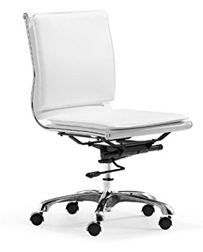3. Aidan Plus White Armless Adjustable Office Chair