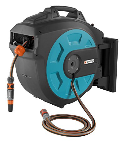 8. GARDENA Retractable Hose Reel 82-Feet With Convenient Hose Guide