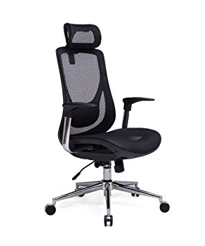 1. VIVA OFFICE High Back Executive Mesh Chair with Adjustable Headrest