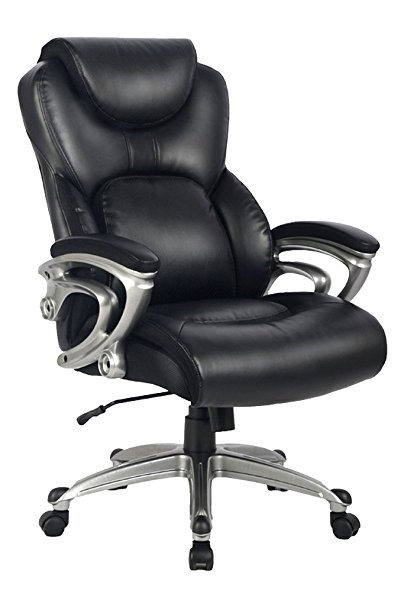 2. Office Chair with Bonded Leather High Back Thick Padded Office Chair