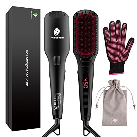 1. MiroPure 2 in 1 Ionic Hair Straightener Brush with Heat Resistant Glove