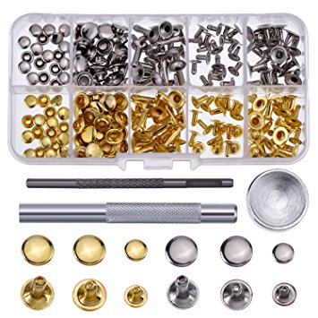 9. Hotop 120 Set Leather Rivets Single Cap Rivets Tubular Metal Studs with Fixing Tool Kit for Leather Craft Repairing Decoration, 3 Sizes
