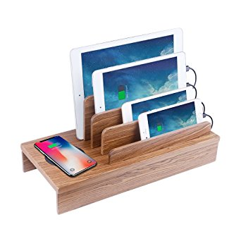 10. Lottogo Wireless Charging Station for iPhone 8, iPhone X,Samsung S7 / S6 and Multi-Port USB Charging Organizer Quick Charger ,Supports iPhone/iPad, Android Devices & More