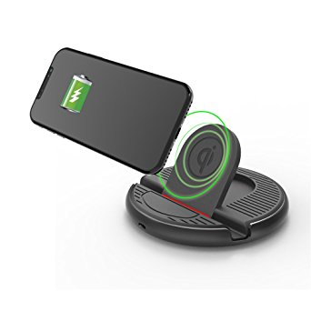 8. QBUC Car Wireless Charger Stand Charging Mount for iphone X /8/8Plus,Samsung Galaxy S8 Edge/S7 Edge/S6 Edge