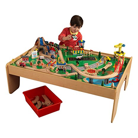 9. KidKraft Waterfall Mountain Train Set and Table