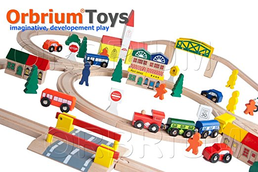 6. 100-Piece Orbrium Toys Triple-Loop Wooden Train Set