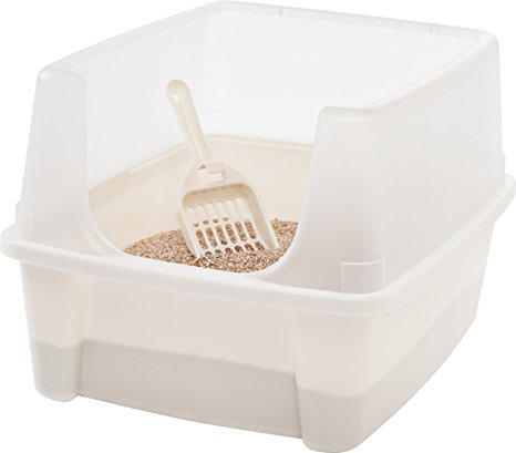 2. IRIS Open Top Cat Litter Box Kit with Shield and Scoop