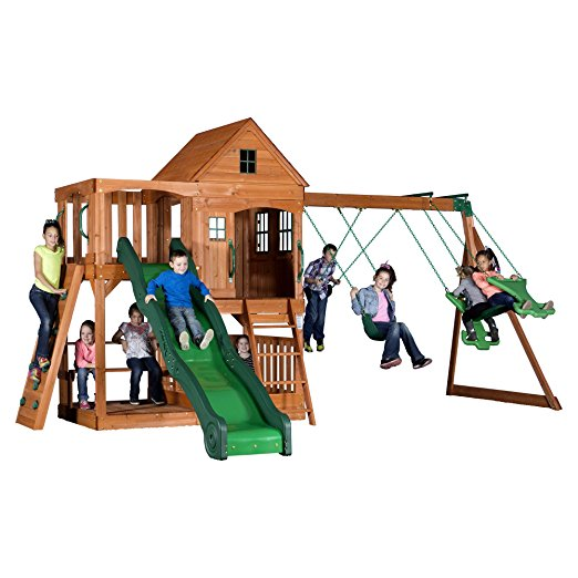 9. Backyard Discovery Pacific View All Cedar Wood Playset Swing Set