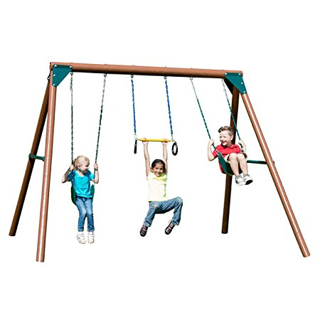 1. Swing-N-Slide Orbiter Complete Wooden Swing Set