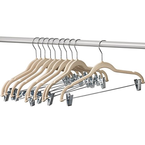 7. Home-it 10 Pack Clothes Hangers with clips IVORY Velvet Hangers use for skirt hangers Clothes Hanger pants hangers Ultra Thin No Slip