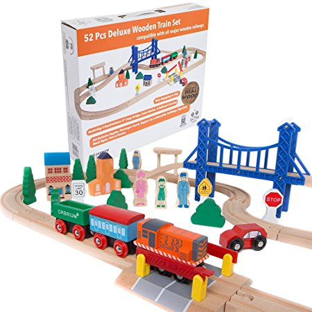 7. Orbrium Toys 52 Pcs Deluxe Wooden Train Set with 3 Destinations