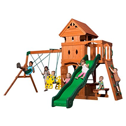 2. Backyard Discovery Monterey All Cedar Wood Playset Swing Set