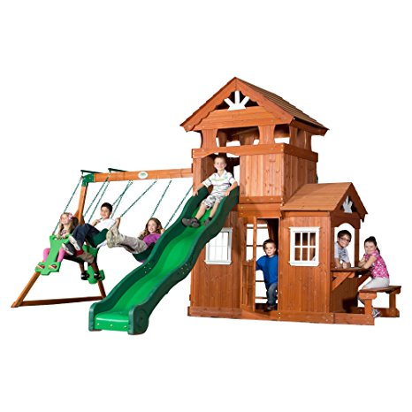 7. Backyard Discovery Shenandoah All Cedar Wood Playset Swing Set