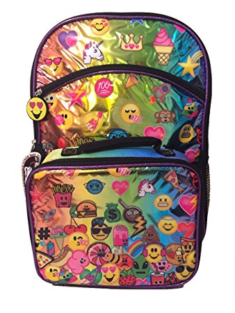 7. Emojination Girls' Rainbow Purple 16 Inch Backpack with Detachable Lunch Bag