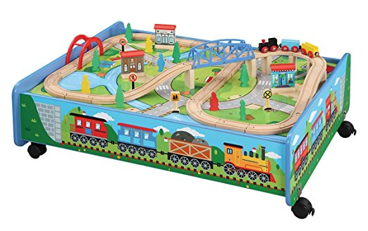 5. 62 piece Wooden Train Set with Train Table / Trundle
