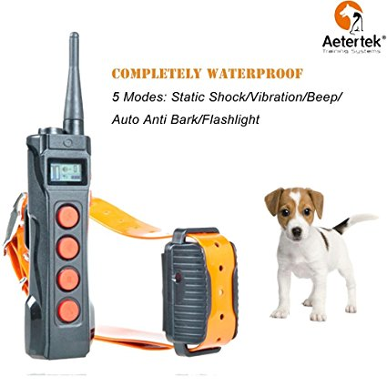 9. Aetertek Remote Dog Shock Collar 1 year Return Guarantee 1000M range 5 Modes (Shock, flashLight, Vibration , Beep & Auto anti bark) Safe For All Size Dogs Rechargeable & Waterproof trainer