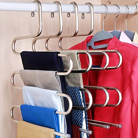8. DOIOWN S-type Stainless Steel Clothes Pants Hangers Closet Storage Organizer for Pants Jeans Scarf hanging (14.17 x 14.96ins, Set of 3) (3-Pieces)