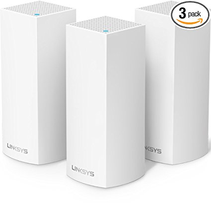 8. Linksys Velop Tri-band Whole Home WiFi Mesh System, 3-Pack (coverage up to 6000 sq. ft), Router Replacement for Home Network, Works with Amazon Alexa