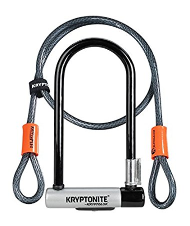 7. Kryptonite New-U KryptoLok Series 2 Standard Bicycle U Lock with 4ft Flex Bike Cable