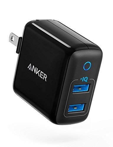 9. [Upgraded] Anker PowerPort II with Dual PowerIQ Ports, 24W Ultra-Compact Travel Charger with Foldable Plug, for iPhone X / 8 / 7 / 6s / 6 Plus, iPad Pro / Air 2 / mini 4, Samsung S5, and More