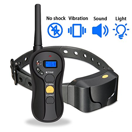 7. Remote Dog Training Collar, FOCUSPET Blind Operation Electric Waterproof No Shock Dog training Collar Rechargeable Anti Bark 655 yd 16 Levels Tone,Vibration & Light Mode for Small,Medium & Large Dogs