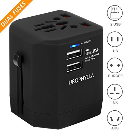 10. Travel Adapter,UROPHYLLA Universal Adapter Dual Fuses 2.5A USB Wall Charger Power Adapter cover 150+countries EU US China UK Japan Germany Spain Iceland Italy Russia Greece European Plug Adapter