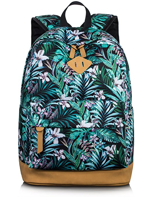 10. Fashion Floral College Bags Student School Backpack by Leaper