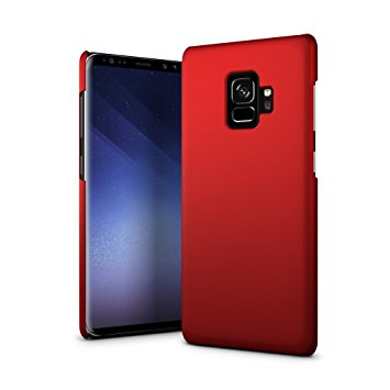 10. SLEO Case for Samsung Galaxy S9 SM-G960, Hard PC Slim Soft-touch Rubberized Back Phone Case Cover for Samsung Galaxy S9 SM-G960 - Red