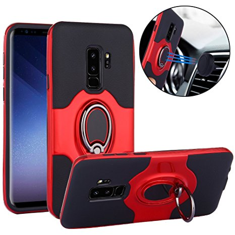 2. Galaxy S9 Plus Case, Slim Drop Protection Cover, IMPROVED Ring Grip Holder Stand, Back Magnetic Circle With Air Vent Magnetic Car Vent Mount For Samsung Galaxy S9 Plus - Red