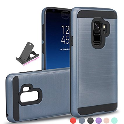 8. Galaxy S9 Plus Case, Galaxy S9+ Case,Samsung SM-G965U Case With Phone Grip,Ayoo [Drop Protection] Brushed Texture Full-Body Shockproof Protective Cover Design for Galaxy S9 Plus- Metal Slate