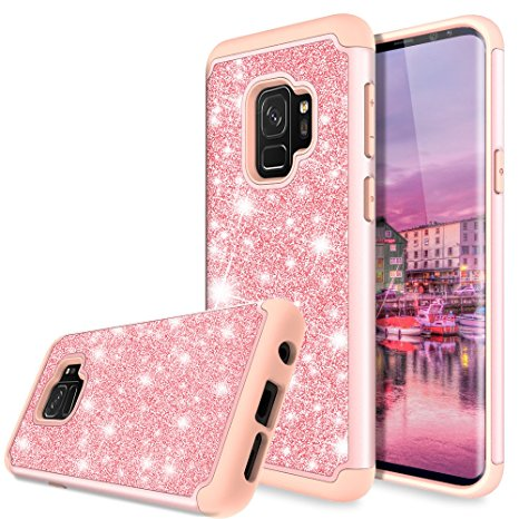 9. Galaxy S9 Case, TAURI Fashion Glitter Sparkle Bling Shiny [2 In 1] Hybrid Defender Protective Armor Case For Samsung Galaxy S9 - Rose Gold