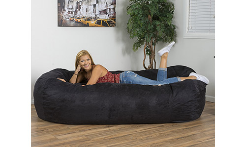 7. Christopher Knight Home 294973 David Faux Suede 8 Feet Lounger Bean Bag (Black)