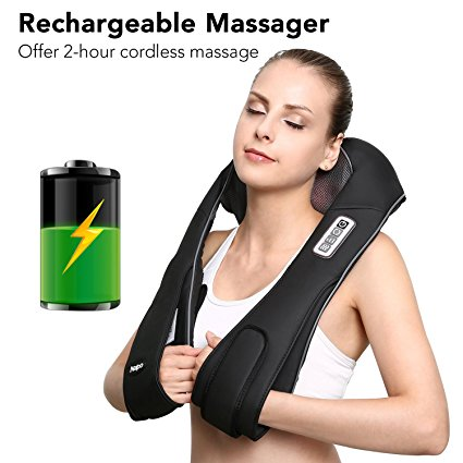 9. Naipo Back Neck and Shoulder Massager Shiatsu with Heat and Deep 3D Tissue Kneading Cordless and Rechargeable for Anytime Anywhere USE