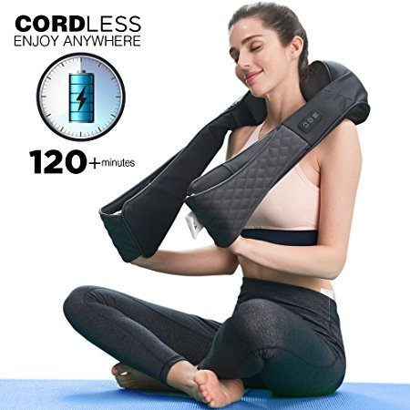 8. LiBa Cordless Shiatsu Neck Shoulder Back Massager Belt with Heat - Rechargeable Use Unplugged, Portable Full Body Massage Relieving Pain Sore Muscles