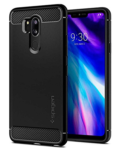 1. Spigen Rugged Armor LG G7 Case/LG G7 ThinQ Case with Flexible and Durable Shock Absorption with Carbon Fiber Design for LG G7 ThinQ (2018
