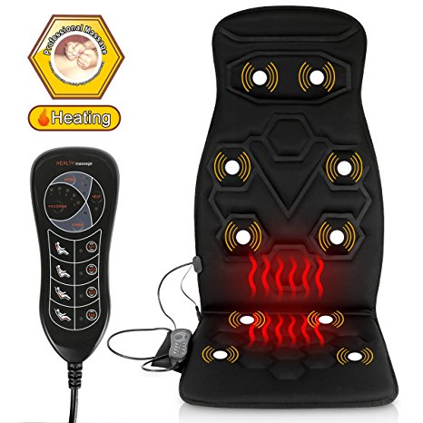 9. comfitech Heated Car Seat Back Massager Cushion Chair Pad with 10 Vibrating Motors for Office, Auto and Home