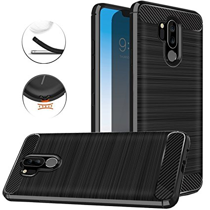 9. LG G7 ThinQ Case, LG G7 Case, Dretal Carbon Fiber Shock Resistant Brushed Texture Soft TPU Phone case Anti-fingerprint Flexible Full-body Protective Cover For LG G7 ThinQ
