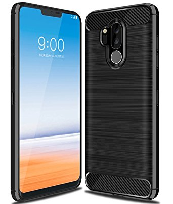 4. LG G7 Case, LG G7 ThinQ Case, Ucc Frosted Shield Luxury Slim TPU Bumper Cover Carbon Fiber Design and Anti-Scratch and Non-Slip Case Cover for LG G7