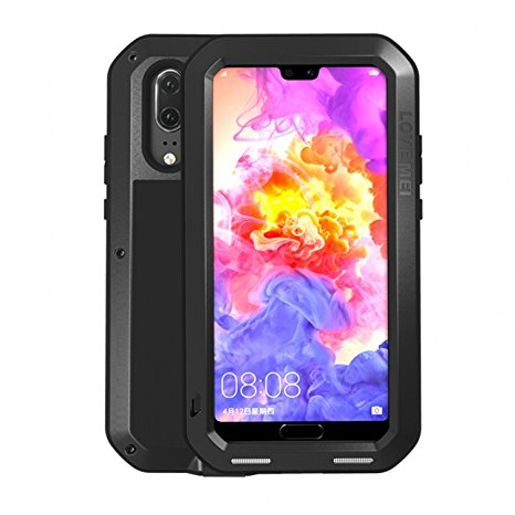 2. Simicoo Huawei P20 Pro Aluminum Alloy Metal Bumper Silicone Full body Hybrid Case Built-in Gorilla glass Military Shockproof Heavy Duty Armor Defender Tough Case For Huawei P20 Pro