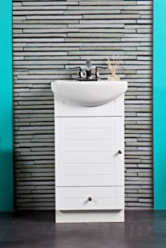 6. SMALL BATHROOM VANITY CABINET AND SINK WHITE - PE1612W NEW PETITE VANITY