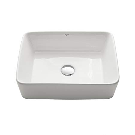 9. Kraus KCV-121 White Rectangular Ceramic Bathroom Sink