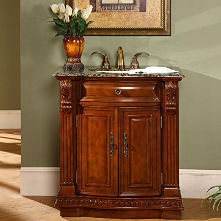 9. Silkroad Exclusive Granite Stone Top Single Sink Bathroom Vanity with Cherry Finish Cabinet, 33-Inch
