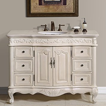 4. Silkroad Exclusive Countertop Marble Single Sink Bathroom Vanity with White Oak Finish Cabinet, 48-Inch