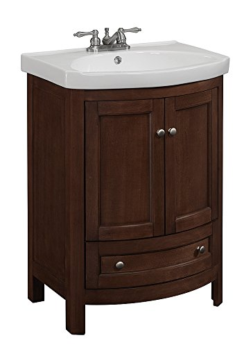 3. RunFine RFVA0069 Vanity with Vitreous China Top, One Drawer and Cabinet, and Doors, Walnut Finish