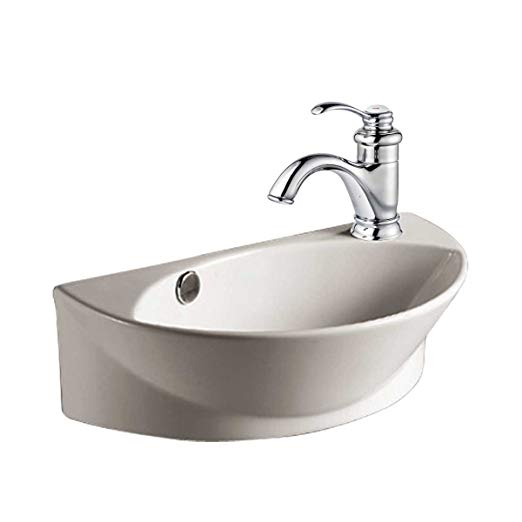 4. White Small Wall Mount Sink with Single Faucet Hole