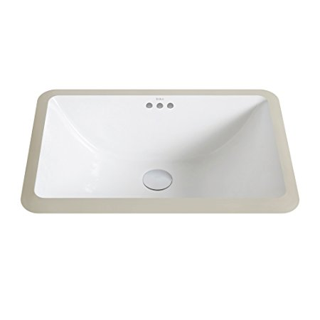 2. Kraus KCU-241 Elavo Ceramic Small Rectangular Undermount Bathroom Sink