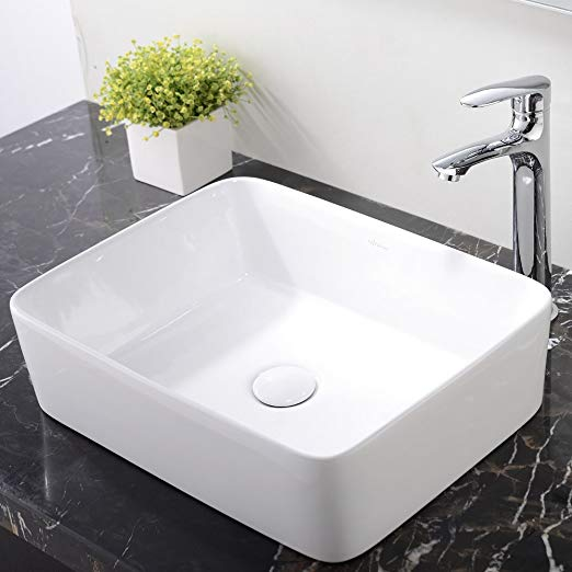 6. Ufaucet Modern Porcelain Above Counter White Ceramic Bathroom Vessel Sink